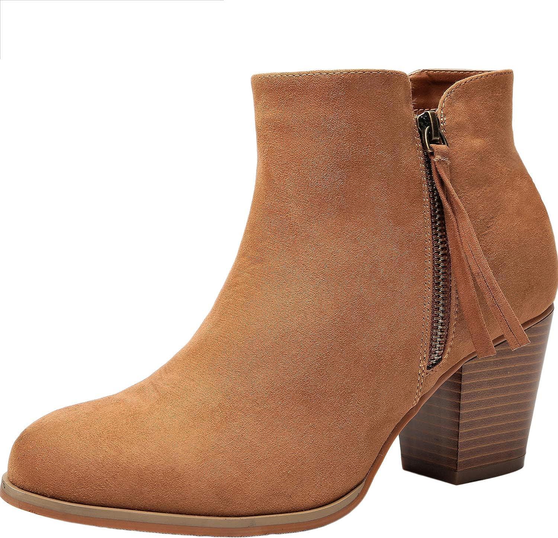 Aukusor Women's Wide Width Ankle Booties - Comfort Chunky Mid Heel Casual Zipper Inside Elastic Warm Short Boots.