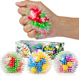 YoYa Toys Spiky DNA LED Ball (3-Pack) - Stimulating and Calming Sensory Squishy Balls for Kids and Adults - Spike Squishies for Autism, Fidgeting, ADHD and Quitting Bad Habits - Non-Toxic Rubber