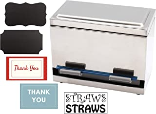 2Fold Supply Stainless Steel Straw Dispenser - For Bulk Unwrapped Drinking Straws - Custom Thank You, Straw and Chalkboard Labels Included