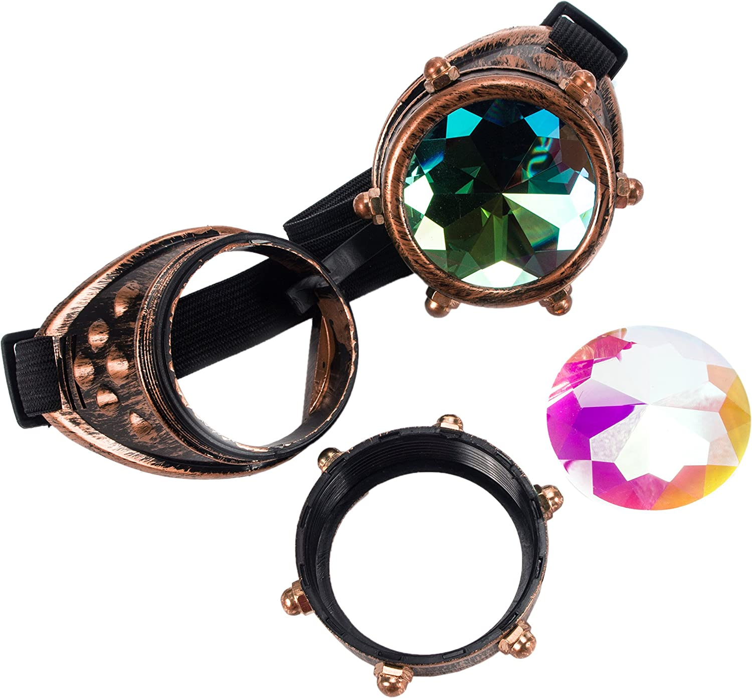 Kaleidoscope Steampunk Rave OFFicial shop Glasses Crystal Memphis Mall with Rainbow Goggles