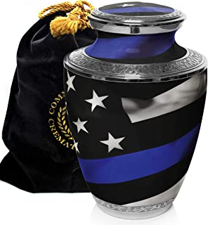 Blue Line Flag Police and Law Enforcement Cremation Urns for Human Ashes Adult for Funeral, Burial, Columbarium or Home, C...