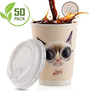 Disposable Coffee Cups With Leak-Proof Lids 12 Oz To-Go, 50-Pack Hot Paper Insulated Double Wall Cup Quality Secure-Locked Lid. Cute & Funny Cat Design, Cold/Hot Beverage Party Travel Cups.