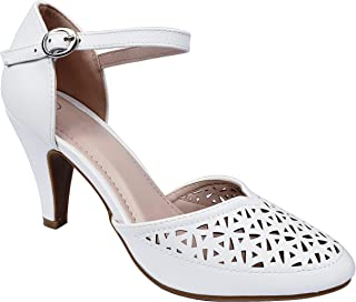 Mary Jane Pumps Feminine Cut-Outs Low Kitten Heels Vintage Retro Shoe with Ankle Strap