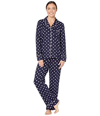 Splendid Pillowsoft Notch Collar PJ Set (Navy Dot) Women