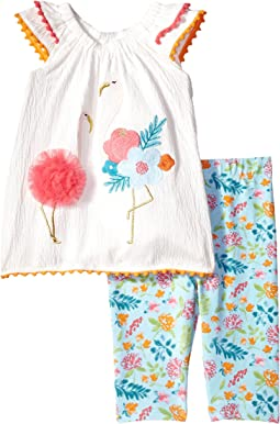 Mud Pie Flamingo Tunic and Capris Two-Piece Set (Toddler)