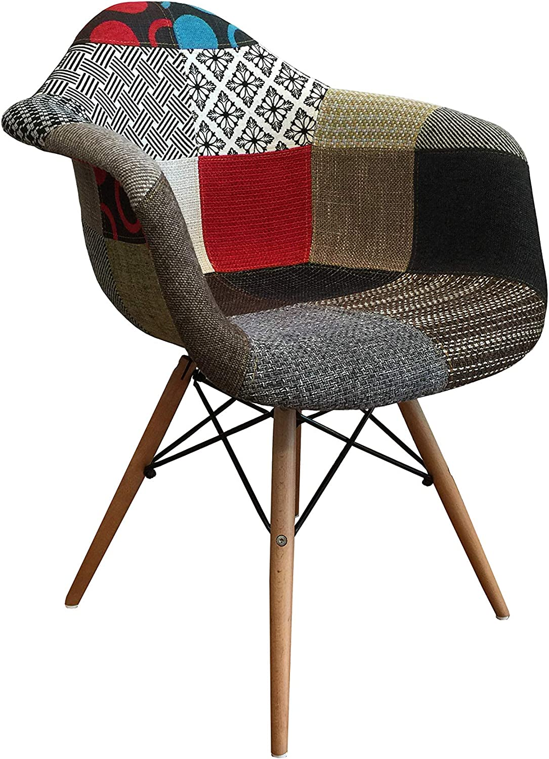 Fabric with Natural Beech Wood Arm Chair