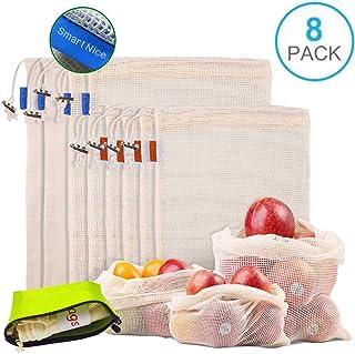 blanco Bolsa de algod/ón para compras DimiDay tela correa larga, color blanco large