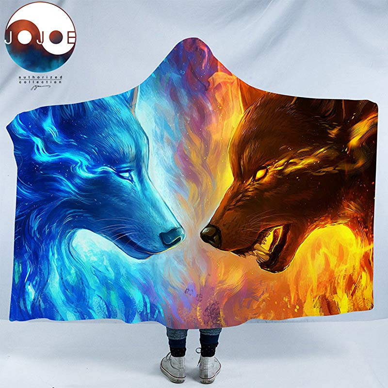 Sleepwish Fire And Ice By JoJoesArt Wolf Blanket Mens Hooded Blanket Blue And Orange Wolves Sherpa Blankets 80 X 60