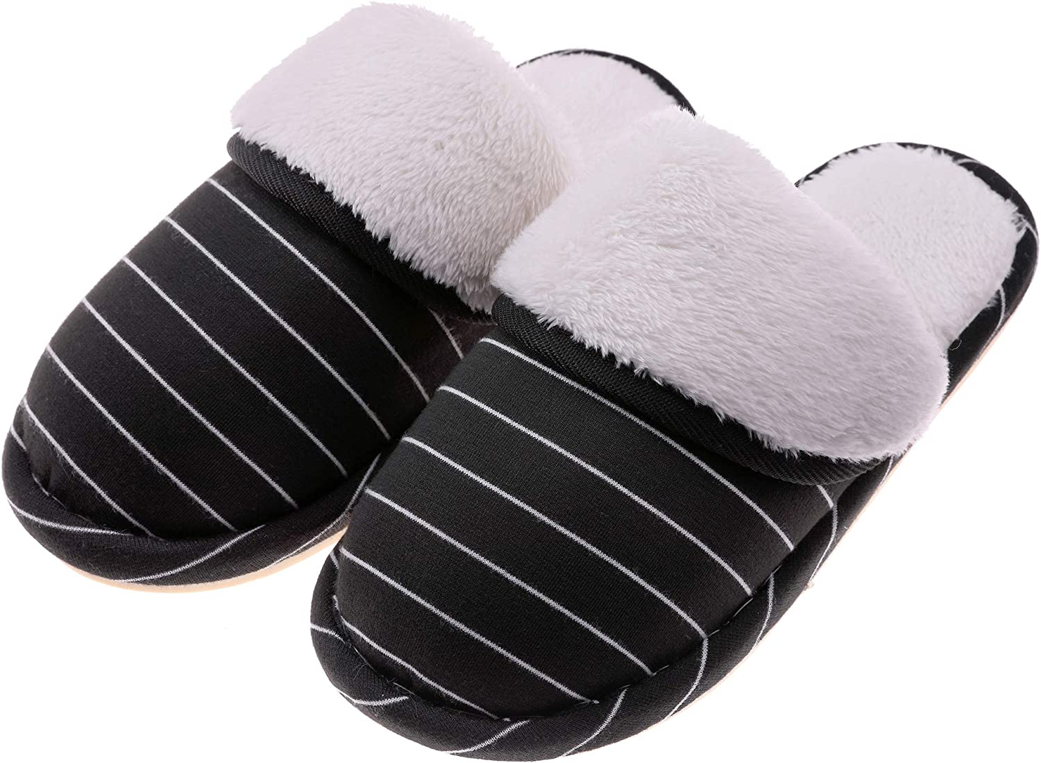 RONGblueE Women's Comfort Warm Memory Foam Slippers Plush Lining Slip-on House shoes Indoor & Outdoor