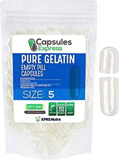 XPRS Nutra Size 5 Empty Capsules - Clear Empty Gelatin Capsules - Capsules Express Empty Pill Capsules - DI...