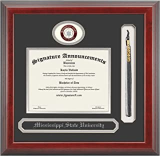 Signature Announcements Mississippi State University (MSU) Doctorate Graduation Diploma Frame with Sculpted Foil Seal, Name & Tassel (Cherry, 23 x 24)