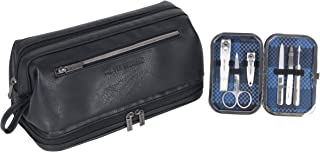 Ben Sherman Noak Hill Collection Vegan Leather Toiletry Travel Kit, Black, 2PC Set