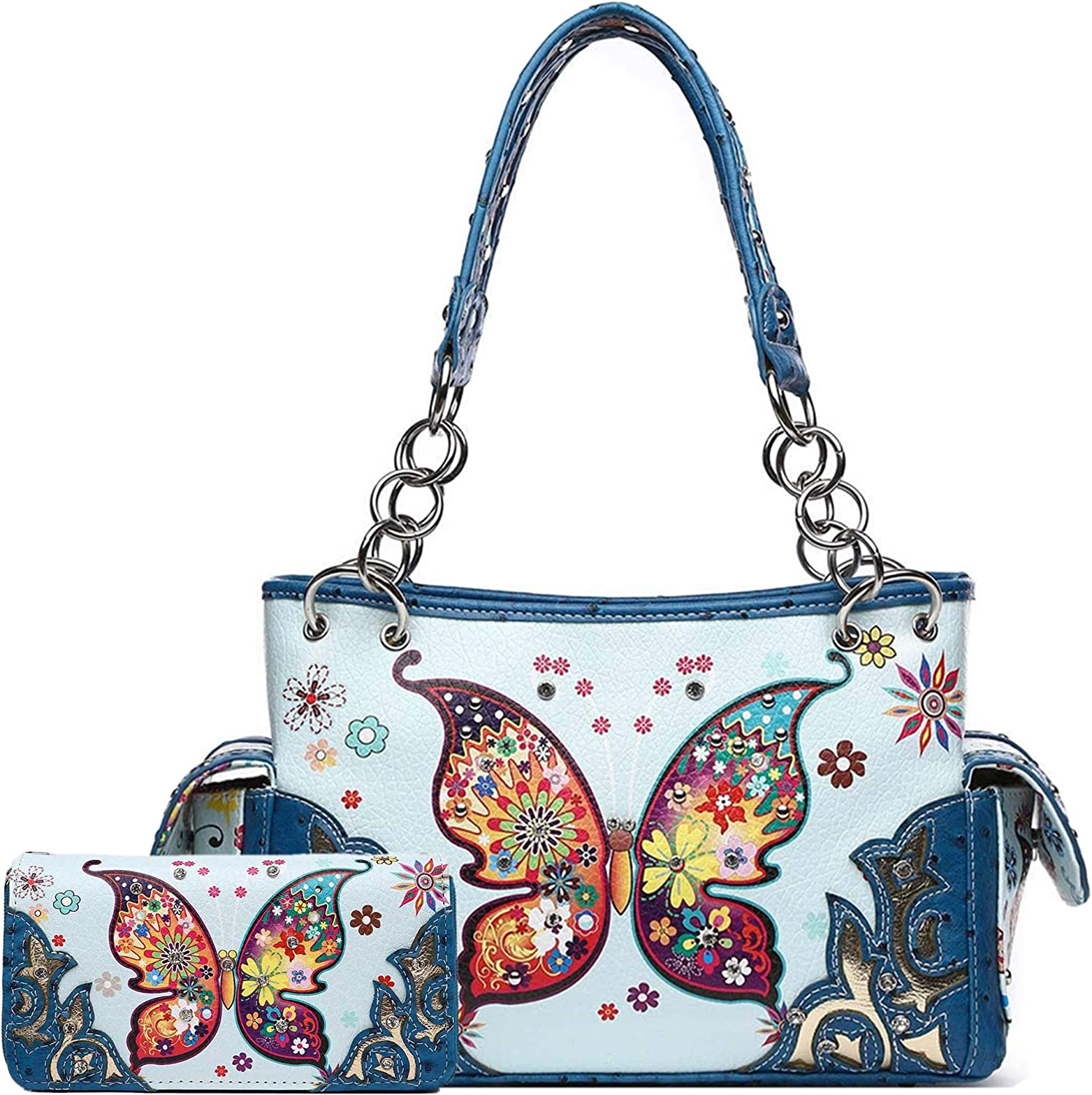 Western Style Butterfly Flower Concealed Carry Spring Purse Country Handbag Women Shoulder Bag Wallet Set