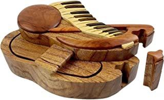 Music Note and Keyboard All Natural Exotic Woods Puzzle Box, 6.5