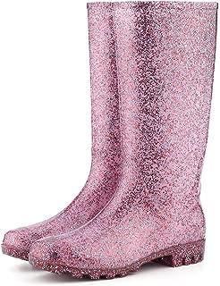 Women' s Knee High Waterproof Rain Boots Glitter, Matte and Gradient