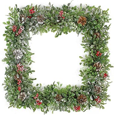 "Northlight Square Boxwood and Berries Pine Cone Artificial Christmas Wreath Unlit, 18"", Green"