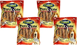 Cadet 4 Pack of Triple Chew Dog Treats, 6 Count each, Pork Hide Sweet Potato and Chicken Flavor