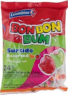 """Bon Bon Bum - Bubble Gum Filled Lollipops, Assorted Flavours - 24 Units (408gr) - """"Tastes Like Actual Fruit"""" - Amazon Revi..."""
