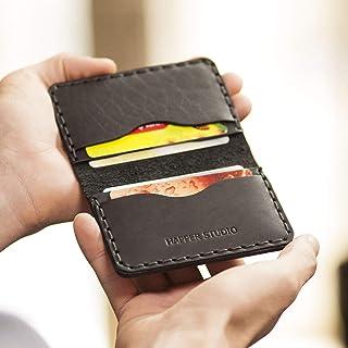 Nero portafoglio in pelle. Porta Carte di credito, contanti o carta d'identità. Tasca Unisex in stile rustico. Custodie pe...