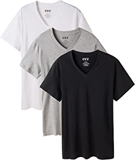CYZ Men's V-Neck T-Shirt Undershirt Pack of 3 100% Cotton
