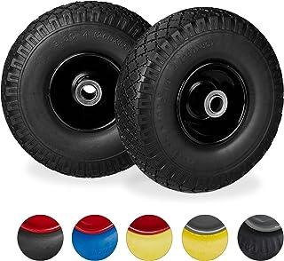 Relaxdays 2 x steekwagenwiel, lekvrije massief rubberen banden, 3,00-4 inch stalen velg, 20 mm as, 100 kg, 260 x 85 mm, zwart