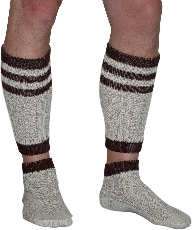 2 Piece Long Embroidered German Lederhosen Wool Socks Cream/Brown