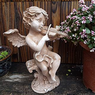 LBYLYH Home Garden Decor Ornament Gift Cupid Sculpture Playing Violin Vintage Garden Angel Statue Courtyard Landscape Decoration