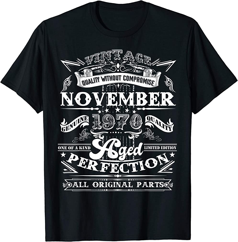 Classic 49th Birthday Gift Men Women Vintage November 1970 T-shirt