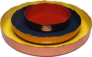 Melange Home Decor Copper Collection, Set of 3 Round Platters - 6