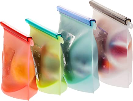 Reusable Food Storage Bags - 4-Pack Zip lock Silicone Food Bag Set - 2 Large + 2 Medium Ziplock Bags for Food, Snack & Sandwich - BPA-Free Freezer & Microwave Safe, Washable Zip Silicon Lunch Baggies
