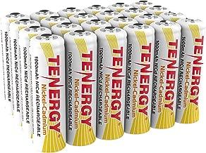 Tenergy AA Rechargeable NiCD Battery, 1.2V 1000mAh High Capacity AA Batteries for Solar Lights, Garden Lights, Yard Light 24-Pack