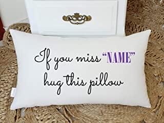 Yugtex Cushion Cover Personalized Name Pillow,Long distance relationship Gift Pillow case Personalized Boyfriend Love Friendship Friend I miss you If you miss me hug this pillow