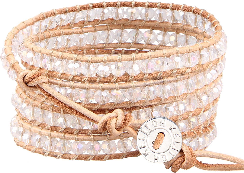 KELITCH Women Lavender Crystal Beads 5 Wrap Bracelet Handmade Exclusive Women Gifts