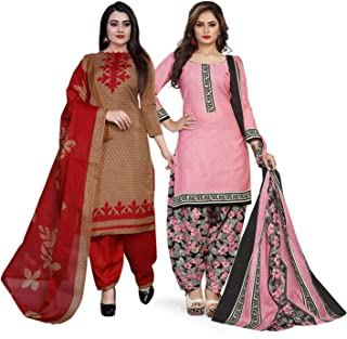 Rajnandini Women's Light Brown And Light Pink Cotton Printed Unstitched Salwar Suit Material (Combo Of 2) (Free Size)