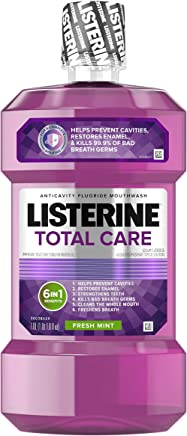 Listerine Total Care Anticavity Mouthwash, 6 Benefit Fluoride Mouthwash for Bad Breath and Enamel Strength, Fresh Mint Flavor, 1 L