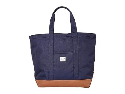 Herschel Supply Co. Bamfield Mid-Volume (Peacoat/Saddle Brown) Tote Handbags