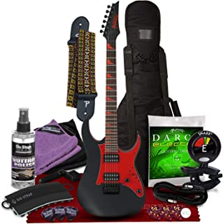 Ibanez GIO Series GRG131DXBKF 6 String Solid-Body Electric Guitar Right, Black Flat Full with Gig Bag, Tuner, Strings, Picks, Complete Deluxe Bundle