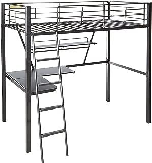 ACME Senon Silver and Black Loft Bed with Desk