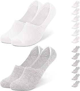 6 pares de calcetines invisibles de algodón para hombre y mujer, 12 pares, tallas 35 a 50, con almohadilla de silicona antideslizante