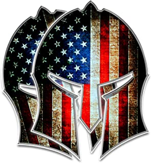 Bigtime Spartan Helmet Decal   Gladiator - Distressed Grunge American Flag   Contour Cut Bubble - F R E E HP Laminated Adhesive Car Sticker Gun 2nd Amendment   Made in USA   5