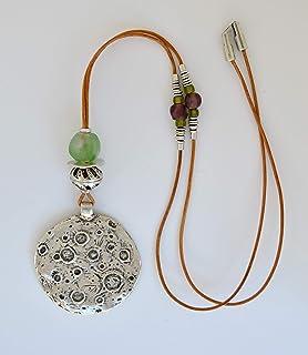 Lunga collana artigianali in zama e cuoio per donna con ciondolo luna, gioiello moderno