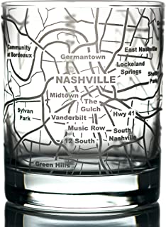 Greenline Goods Whiskey Glasses - 10 Oz Tumbler for Nashville Lovers (Single Glass) | Etched with Nashville Map | Old Fashioned Rocks Glass
