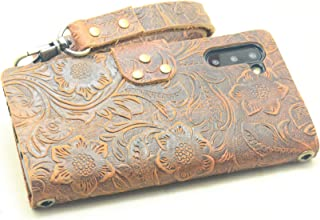 JJNUSA Handmade Genuine Distressed Leather Wallet Case for Samsung Galaxy Note 10 5G Flip Cover Gift