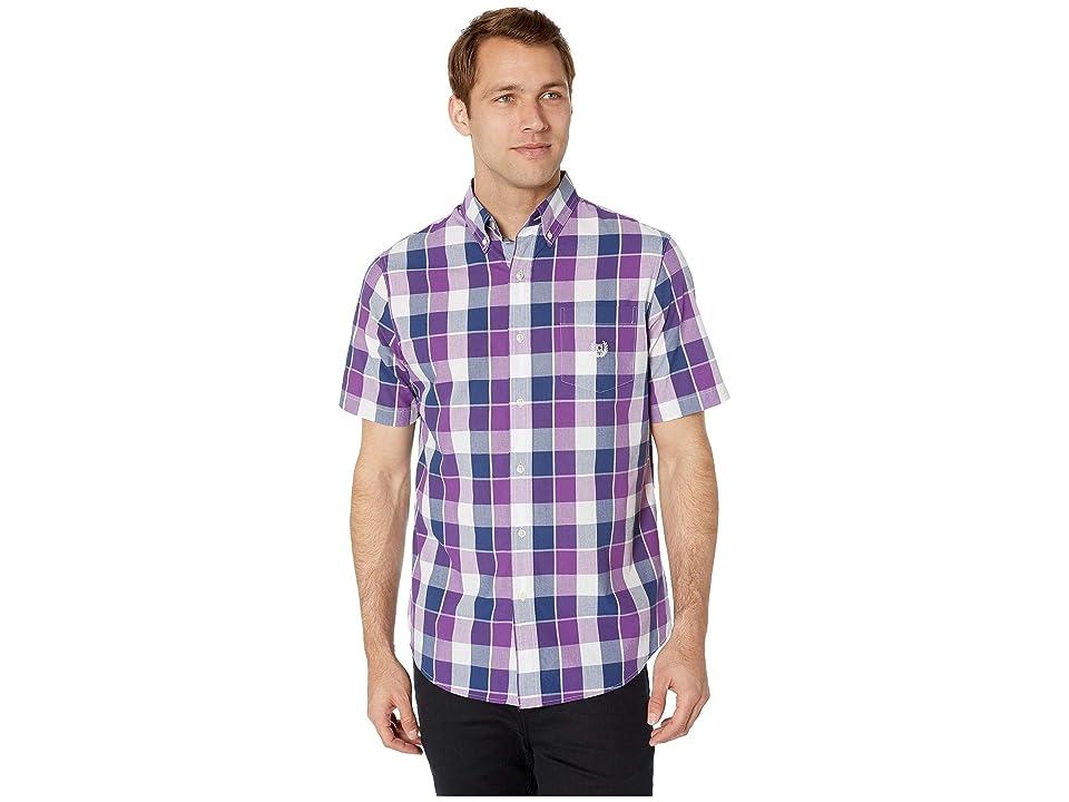 CHAPS Easy-Care Short-Sleeve Sport Shirt (Purple) Men