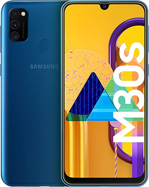 Samsung Galaxy M30s -  Smartphone Dual SIM pantalla 16.21 cm sAMOLED FHD+ camara 48MP 4 GB RAM 64 GB ROM bateria 6000 mAH Android azul [Versión española Exclusivo Amazon]