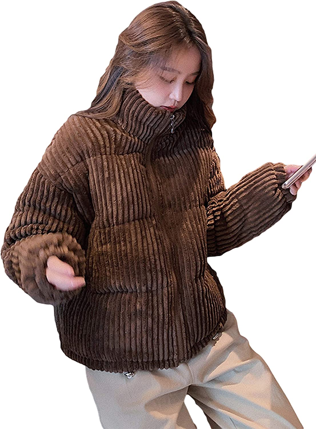 UANEO Womens Corduroy Full Zip Stand Collar Padded Quilted Casual Puffer Jackets