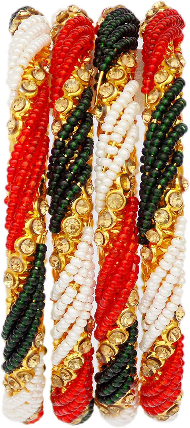 JD'Z COLLECTION Indian Bollywood Ethnic Bangles Bracelet Jewelry Bridal Multi Color Bangle 4pc Jewelry Bangles for Women Partywear Bangles