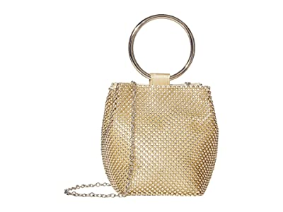 Jessica McClintock Gwen Ball Mesh Ring Wristlet Pouch Clutch (Light Gold) Clutch Handbags