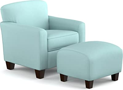 Outstanding Amazon Com Park Avenue Sky Blue Hand Tied Accent Chair And Ibusinesslaw Wood Chair Design Ideas Ibusinesslaworg