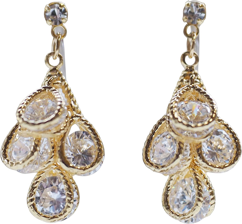 Miyabi Grace Elegant Cubic Zirconia Crystal Invisible Clip On Earrings Dangle Women Wedding Non Pierced Teardrop Clip On CZ BridalEarrings